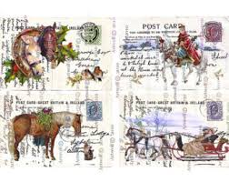 printable horse christmas cards instant download christmas digital cards tags horses sleigh
