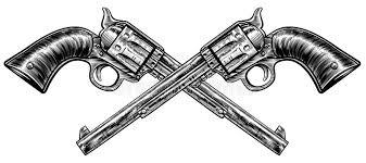 crossed pistol guns stock vector image of line illustration