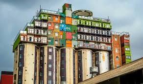 Shipping Container Apartments Silos Topped With Stacks Of Shipping Containers Provide Cheap