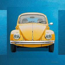 volkswagen yellow car vehicle retro volkswagen type 1 yellow volkswagen beetle on blue canvas