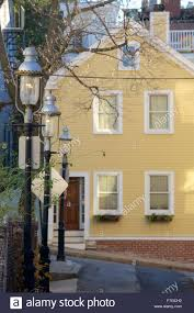 charming yellow houses in charlestown massachusetts stock photo