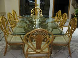 tmr moving sale 8 seat bamboo glass dining table set