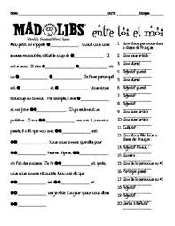 french interpersonal speaking activity mad libs with love romance