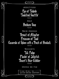 Creepy Halloween Poem Little Gothic Horrors A Very Addams Menu Addams Family U002760s Tv