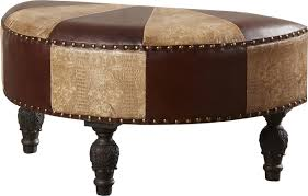 ottomans faux leather storage ottoman with tray brown faux