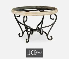 wood and glass top centre table with wrought iron base