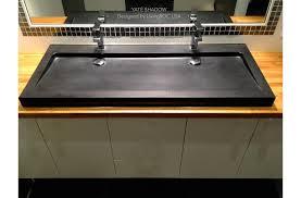 1200mm black granite double trough bathroom sink yaté shadow