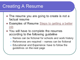 Fictional Resume Preparing For An Interview Activity 5 Careers Training And