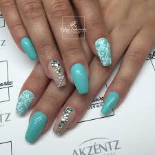 pretty teal and gel nails coffin nails swarovski blingy