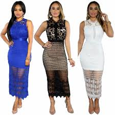 hollow lace dress party maxi women dresses plus size long