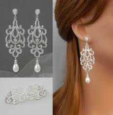 silver earrings bracelet set images Crystal wedding bracelet dainty bridal jewelry set chandelier jpg