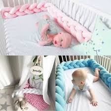 Bed Crib Baby Infant Plush Crib Bumper Bed Bedding Cot Braid Pillow Pad