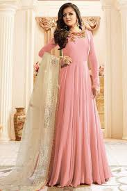 light pink georgette fabric bollywood designer occasionally wear
