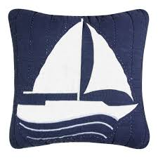 Nautical Home Decor Fabric by Anchor Blue Throw Pillow Nautical Themed Decor 100 Pct Wool