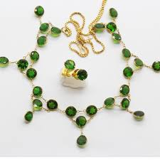 green gem necklace images Natural diopside green gem gold necklace earrings ear stud set modern jpg