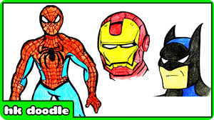 draw spiderman draw superheroes step step