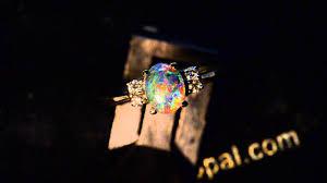 black opal engagement rings 4 diamond 18k white gold solid australian lightning ridge black