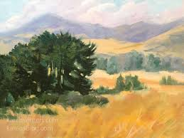 Impressionist Landscape Painting by Along Highway One California Landscape Golden Hills Oil Painting