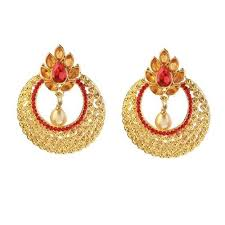 chandbali earrings moon gold plated and pearl drop chandbali earrings size