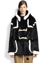 band of outsiders rabbit fur duffle coat in black lyst
