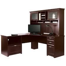Cherry Computer Desk Hutch Scratch U0026 Dent L Shaped Outlet Desk Cherry Finish 23 1 5