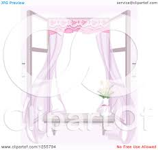 clipart of a shabby chic window with a breeze flowers and drapes