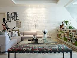painted tile and brick store 100 brick wall living rooms that inspire your design creativity