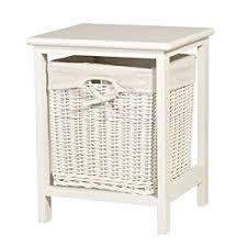 white small bathroom storage wicker basket table laundry bin