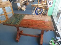Rustic Patio Furniture Texas by Texas Flag Table Top With Farm Table Style Legs Top Is Made From