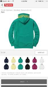 supreme sick mother hoodie below retail