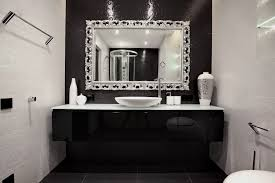 Black Mirror For Bathroom White Counter Top With Sink Placed On The Black Vanity Plus Mirror