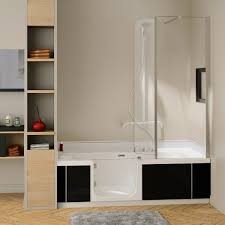 kinedo shower baths kineduo left handed shower bath with screen and black panel 1700 x 750