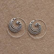 nickel free earrings handmade nickel free small spiral curled leaf silver spiral