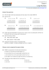 class 4 math worksheets and problems large numbers edugain india