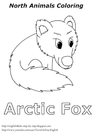 arctic fox coloring for kids esl english learning winter