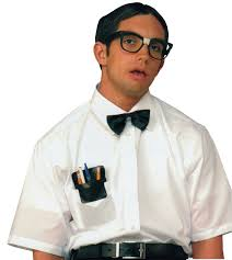 nerd costume kit glasses with taped nose bridge black bow tie