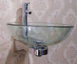wall mount glass sink bathroom en suite wall mounted clear round glass basin sink wash