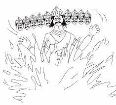 dussehra coloring pages of dummy of ravan burning on vijay dashmi gif