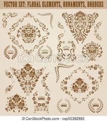 vector of set of vector damask ornaments set of gold damask