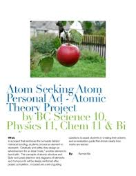 Seeking Ad Atom Seeking Atom Personal Ad Atomic Theory Project Tpt