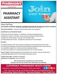 Pharmacy Assistant Duties Resume Employment Opportunities Cloverdale Pharmasave Health Centre