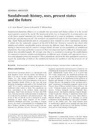 sandalwood history uses present status and the future pdf
