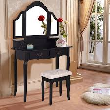 Folding Vanity Table Costway Black Tri Folding Mirror Vanity Makeup Table Set Bedroom W