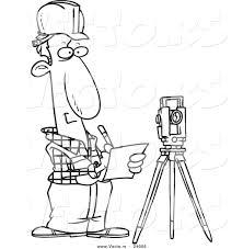 vector of a cartoon construction surveyor coloring page outline