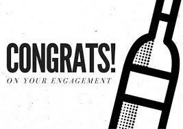 monochromatic champagne bottle engagement congratulations card