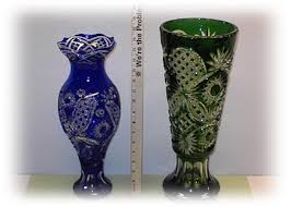 Red Vases And Bowls Russian Colored Glass Cobalt Blue Rubby Red Hand Cut Vases And