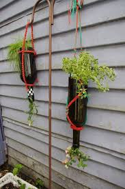 Wine Bottle Planters by Cut The Bottom Off Of Wine Bottle And Use Them To Plant Flowers