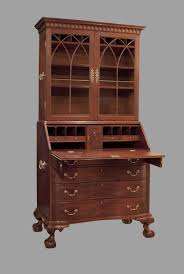 intriguing antique drop front secretary desk with hutch and brass pulls