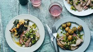 roast leg of lamb with potatoes and asparagus gremolata recipe