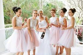 tulle short pink bridesmaid dress wedding party dresses cute